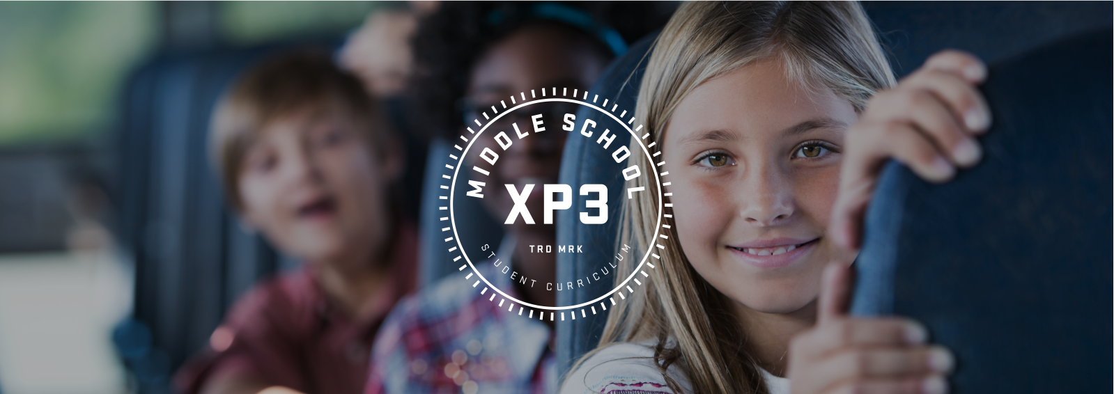 XP3 Middle School Curriculum logo, with children on a school bus in the background