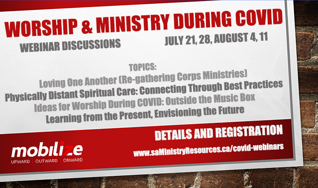 Worship & Ministry During Covid advertisement for a series of 4 webinars