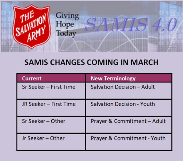 Changes coming in March to SAMIS. Name changes for Seeker data.