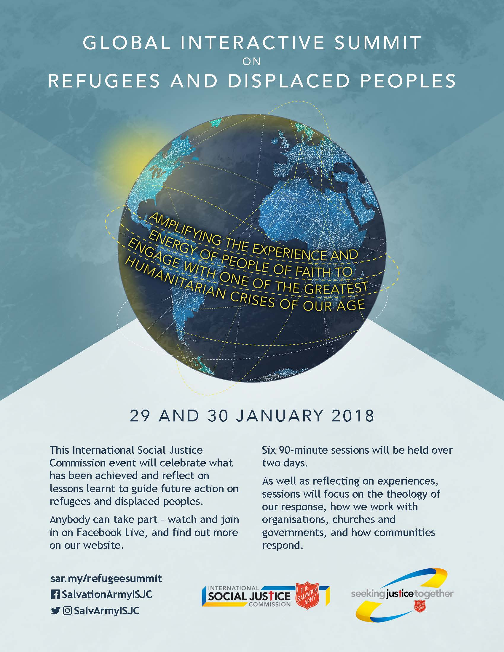 Poster for Global Interactive Summit on Refugees and Displaced Peoples: January 29-30, 2018