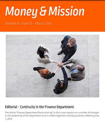 Money and Mission newsletter issue graphic