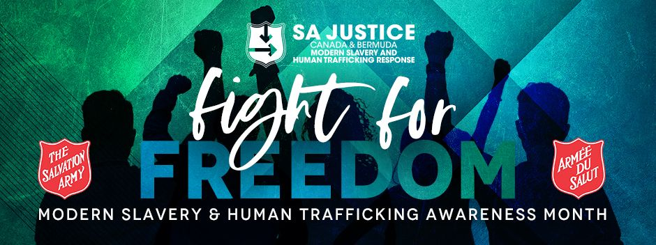 SA Justice Canada and Bermuda, Modern Slavery and Human Trafficking Response, Fight for Freedom Banner