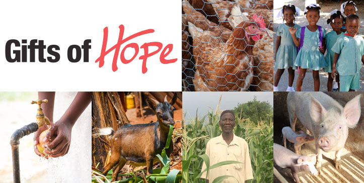 Gifts of Hope header with images of children and animals