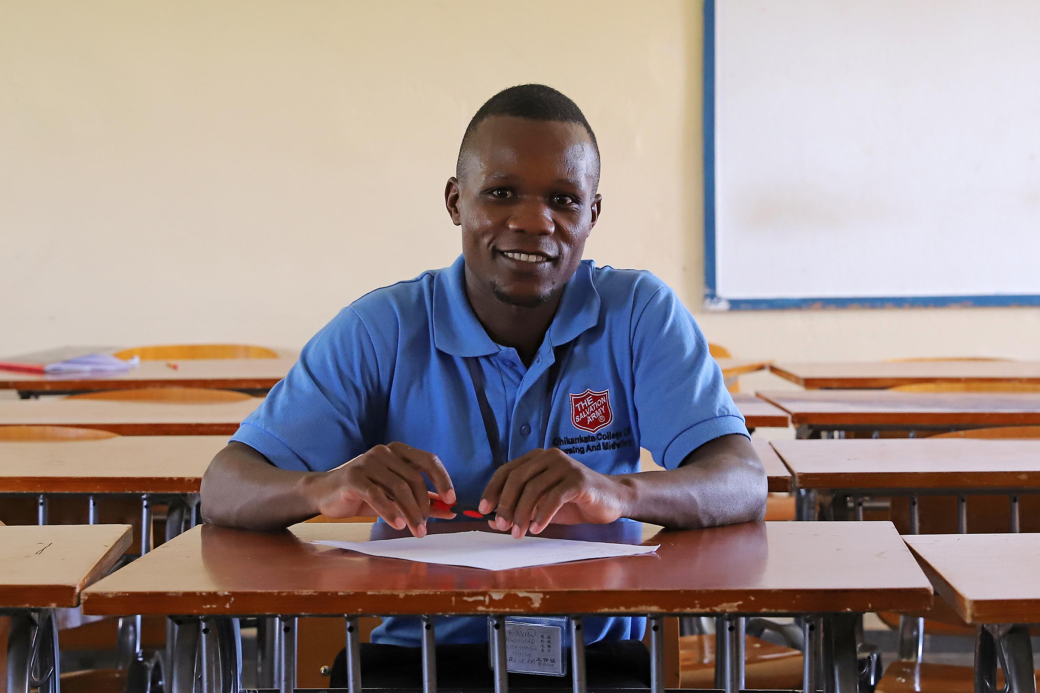 Photo of smile male nursing student from Chikankata College of Nursing in Zambia