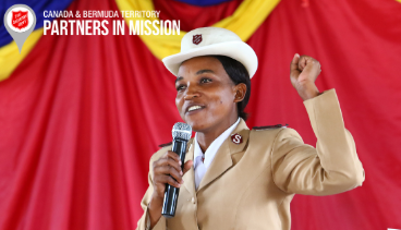 Photo of Major Elizabeth Kilai preaching at Sunday Church service in Lusaka Corps in Zambia
