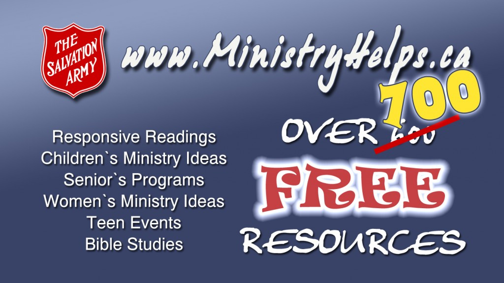 Banner for www.MinistryHelps.ca for over 700 free resources