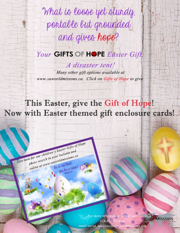 Salvation army canada articles gifts of hope for easter the salvation army world missions easter poster negle Gallery